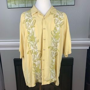 Tommy Bahama Yellow Floral Silk shirt Mens sz XXL
